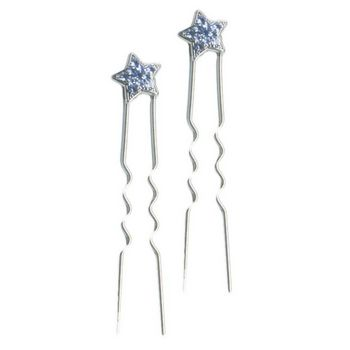 HB HairJewels - Mini French Star Hairpin - Sapphire Blue/Silver
