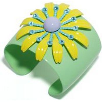Gerard Yosca - Key Lime Cuff w/Yellow & Blue Daisy