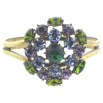 Gerard Yosca - Emerald Green Center Stone Pin On Brass Cuff (1)  (All sales final on sale items.)
