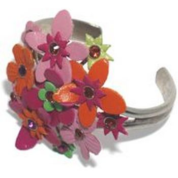 Gerard Yosca - Lg Hot Pink Leather Cuff w/Orange Accents