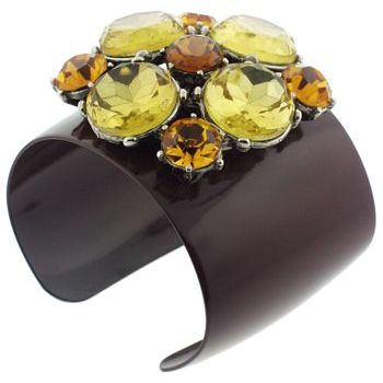 Gerard Yosca - Choc Brown Enamel Cuff w/Burst of Large Stones
