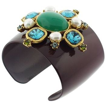 Gerard Yosca - Choc Brown Enamel Bracelet Cuff w/Starburst of Large Stones (all sales final)