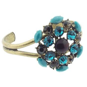 Gerard Yosca - Brown Center Stone Pin On Brass Cuff (1)  (All sales final on sale items.)