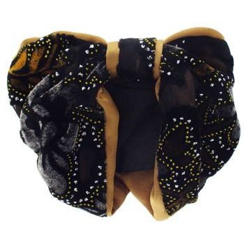 Karen Marie - Snood Collection - Large Velvet & Satin Snood with Glitter Lined Flower Burnouts - Gold