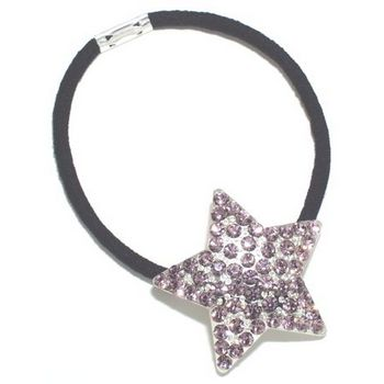 HB HairJewels - Austrian Crystal Star Pony - Light Amethyst