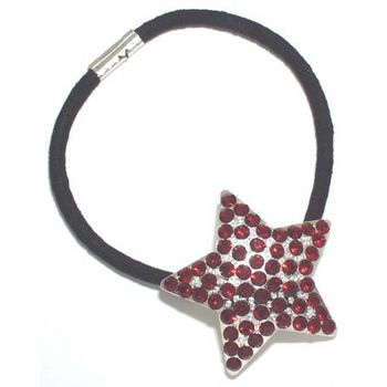 HB HairJewels - Austrian Crystal Star Pony - Red