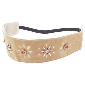 HB HairJewels - Lucy Collection - Faux Velour Sunflower Bandeau - Tan (1)