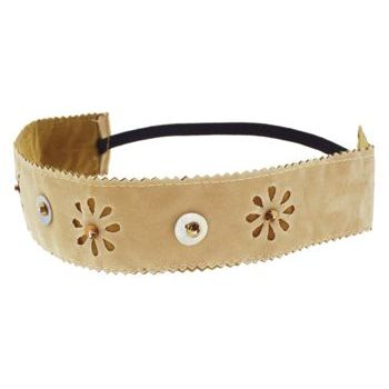 HB HairJewels - Lucy Collection - Faux Velour Pearl Flower Bandeau - Tan (1)