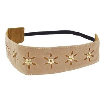 HB HairJewels - Lucy Collection - Faux Velour Daisy Sequin Bandeau - Tan (1)