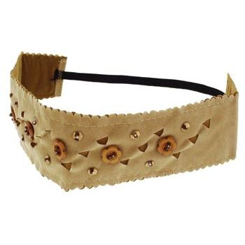 HB HairJewels - Lucy Collection - Faux Velour Daisy Button Bandeau - Tan (1)