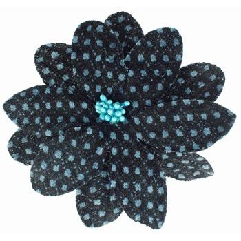 Karen Marie - Faux Tweed Flower Clips - Dark Chocolate w/Blue Dots (1)