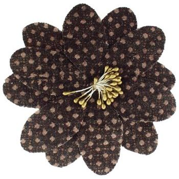 Karen Marie - Faux Tweed Flower Clips - Light Milk Chocolate w/Light Chocolate Dots (1)