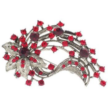 Karen Marie - Vintage Flower w/Streamers Brooch - Ruby (1)