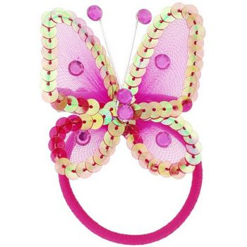 HB HairJewels - Hip Clips - Sequin Butterfly Pony Elastic & Clip - Fuschsia (1)