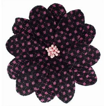 Karen Marie - Faux Tweed Flower Clips - Dark Chocolate w/Pink Dots (1)