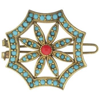 Linda Levinson - Brooch Hairclip - Gold w/Swarovski Jonquil, Pearl & Turquoise (1)