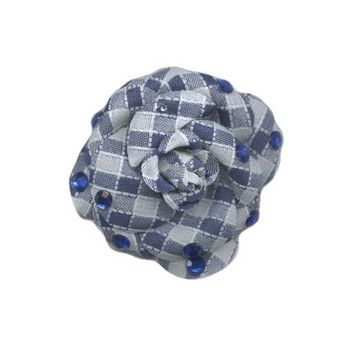 HB HairJewels - Lucy Collection - Gingham Inspired Rhinestone Flower Brooch Pin - Navy
