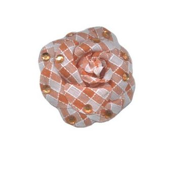HB HairJewels - Lucy Collection - Gingham Inspired Rhinestone Flower Brooch Pin - Tangerine