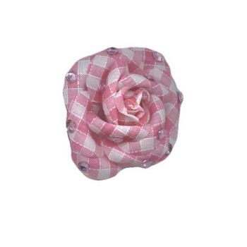 HB HairJewels - Lucy Collection - Gingham Inspired Rhinestone Flower Brooch Pin - Pink