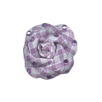 HB HairJewels - Lucy Collection - Gingham Inspired Rhinestone Flower Brooch Pin - Lilac
