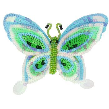 Medusa's Heirlooms - Sequined Butterfly Hair Clip - Sea Foam & Baby Blue