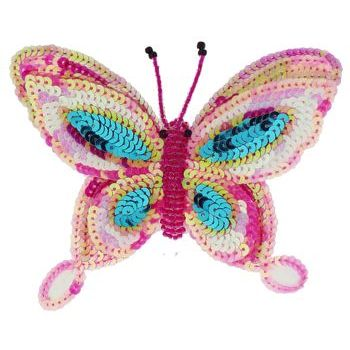Medusa's Heirlooms - Sequined Butterfly Hair Clip - Hot Pink & Blue