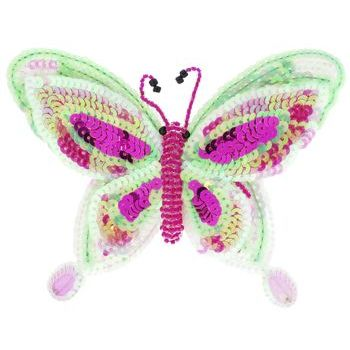 Medusa's Heirlooms - Sequined Butterfly Hair Clip - Pink & Sea Foam Green