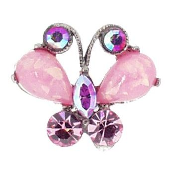 Medusa's Heirlooms - Opaque Butterfly Gem Chignon 2 Prong Pin - Cotton Candy