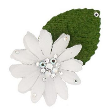 Michelle Roy - Mini Daisy Clip - White w/Swarovski Crystal Accents