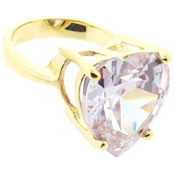 nOir - Heart Amethyst CZ/Gold Ring (1) - Size 6
