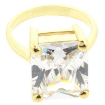 nOir - Small Rectangle White CZ/Gold Ring (1)  - Size 6