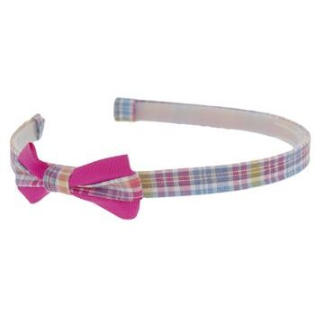 HB HairJewels - Lucy Collection - Classic Plaid Headband w/Bow - Bubble Gum