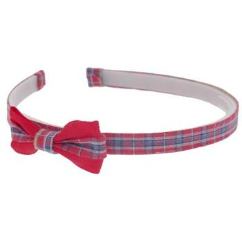 HB HairJewels - Lucy Collection - Classic Plaid Headband w/Bow - Cherry Cola