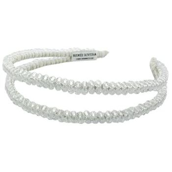 Renee Rivera - Split Headband - White w/Clear Crystals