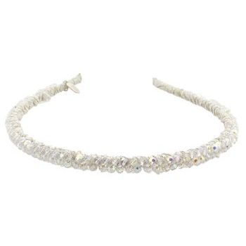 Renee Rivera - Solid Crystal Headband - White w/Clear AB Crystals