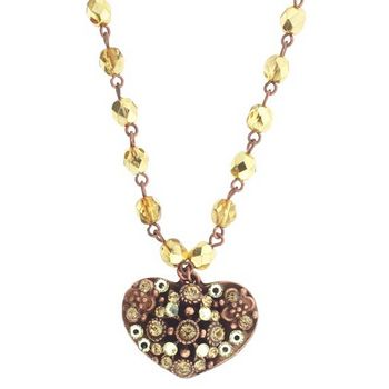 SOHO BEAT - Masquerade Collection - Heart Necklace w/Gold Funk Crystals on Both Sides (1)