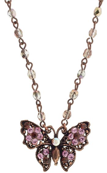 SOHO BEAT - Small Butterfly Necklace with Pink Chocolate Beads & Crystals