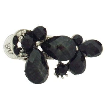 SOHO BEAT - French Fashionista - Moonstone and Crystal Double Flower Claw Clip - Midnight Seduction (1)
