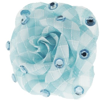 SOHO BEAT - Crystal Avenue - Gemstones - Flowering Plaid Brooch Pin with Crystals - Blue Topaz