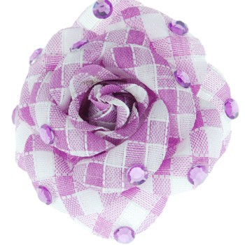 SOHO BEAT - Crystal Avenue - Gemstones - Flowering Plaid Brooch Pin with Crystals - Amethyst