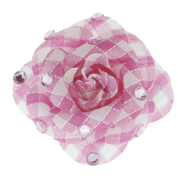 SOHO BEAT - Crystal Avenue - Gemstones - Flowering Plaid Brooch Pin with Crystals - Pink Sapphire