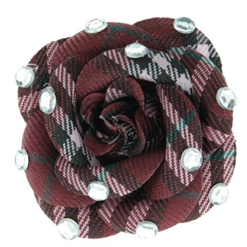 SOHO BEAT - Crystal Avenue - Gemstones - Flowering Plaid Brooch Pin with Crystals - Red Ruby