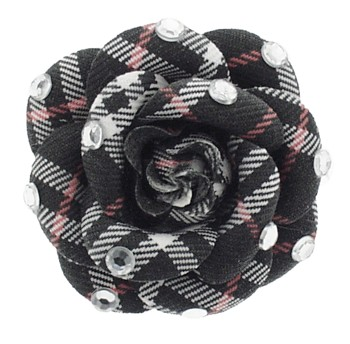 SOHO BEAT - Crystal Avenue - Ivy League - Flowering Plaid Brooch Pin with Crystals - Redline Houndstooth