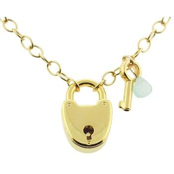 Karen Marie - Heart Lock Necklace - Gold with Blue Gem & Key