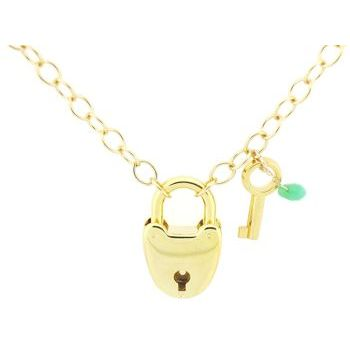 Karen Marie - Heart Lock Necklace - Gold with Green Gem & Key