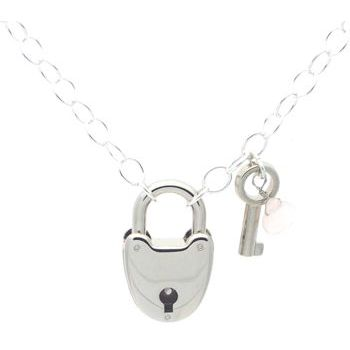 Karen Marie - Heart Lock Necklace - Silver with Pink Gem & Key