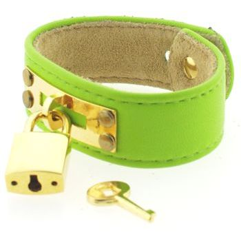 Karen Marie - Leather Cuff Bracelet - Lime Green with Gold Padlock/Key