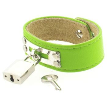 Karen Marie - Leather Cuff Bracelet - Lime Green with Silver Padlock/Key