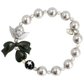 Tarina Tarantino - Glass Pearl & Crystal Stretch Bracelet w/ Star Bead & Cherub - Black & White