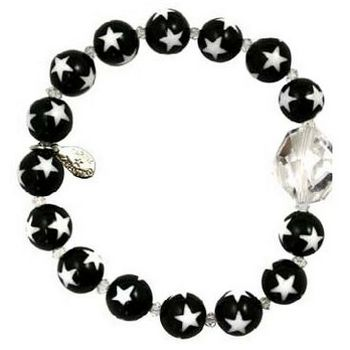 Tarina Tarantino - Star Bead & Crystal Stretch Bracelet - Black & White